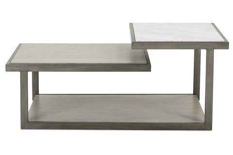 Delta Modern Metal And Wood Rectangular Coffee Table With Carrara Marble Insert