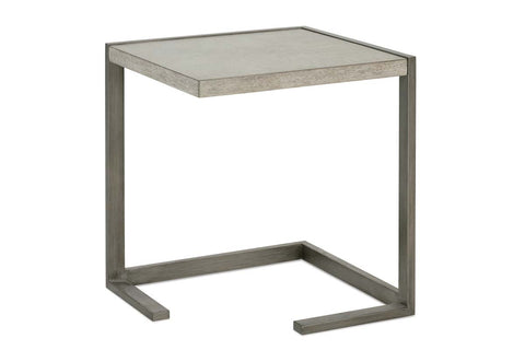 Delta Modern Metal And Wood Side Table With Pewter Finish