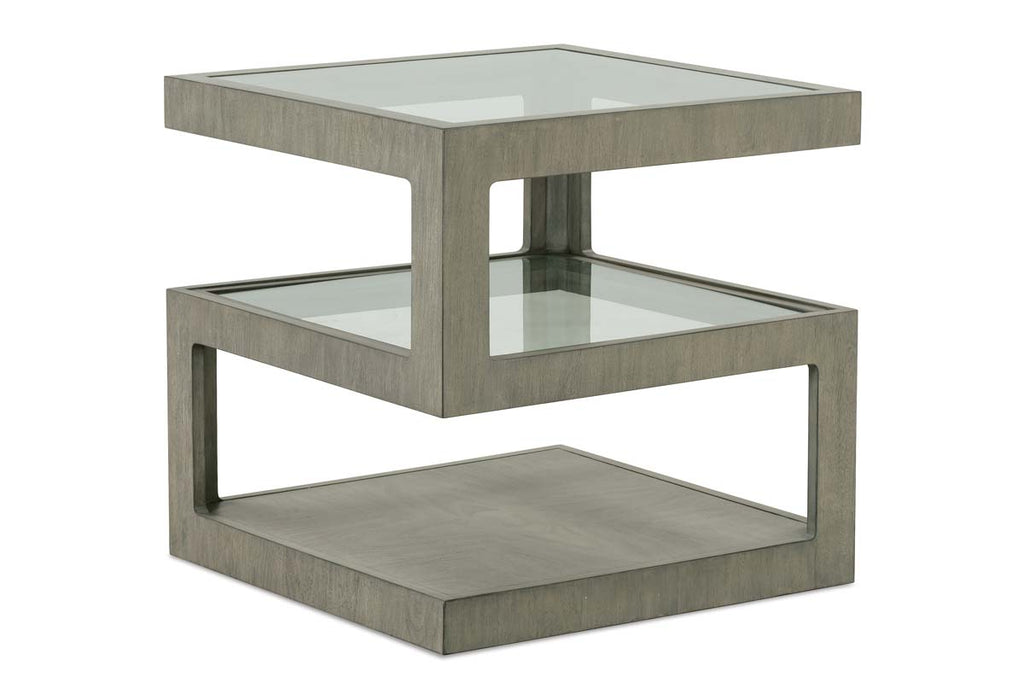 Delta Modern Wood Square End Table With Tempered Glass Shelves