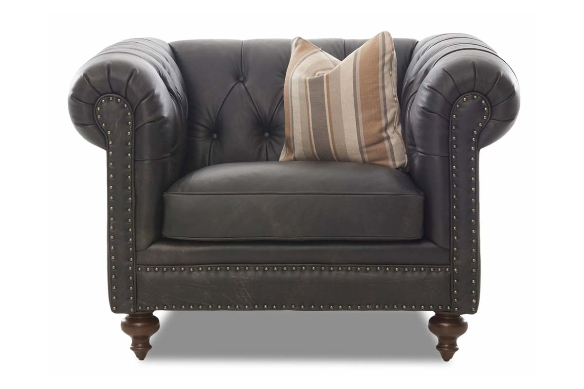 Devonshire Chesterfield Leather Chair w/ Decorative Nailhead Trim