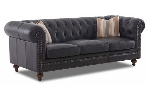 Devonshire Chesterfield Leather Sofa Set With Nailhead Trim