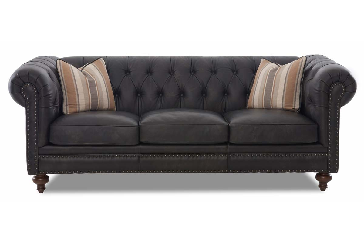 Devonshire 95 Inch Classic Chesterfield Rolled Arm Leather Couch w/ Decorative Nailhead Trim