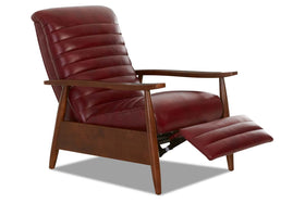 Dex Mid-Century Modern Ribbed Back Leather Recliner