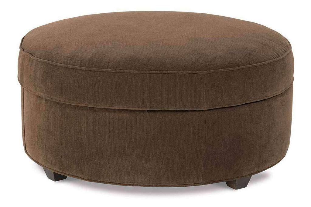 Dexter Large Round Fabric Upholstered Storage Ottoman
