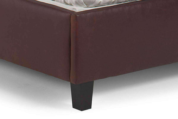 "Upholstered Bed Donovan ""Designer Style"" Camel Back Style Leather Platform Bed"