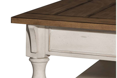 Dorchester Rectangular Coffee Table With Distressed White Base, Storage Drawer And Shelf