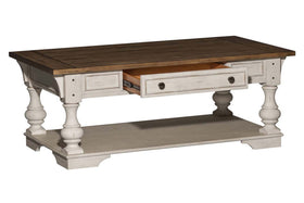 Dorchester Antique White With Tobacco Accents Rectangular Single Drawer Coffee Table