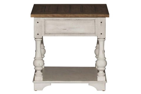 Dorchester Antique White With Tobacco Accents End Table With Single Drawer And Shelf