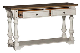Dorchester Antique White With Tobacco Accents Sofa Table With Double Drawers And Shelf