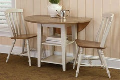 Dover Driftwood White With Sand Top 3 Piece Round Drop Leaf Leg Table Set With Slat Back Chairs