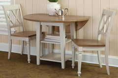 Dover Driftwood White With Sand Top 3 Piece Round Drop Leaf Leg Table Set With X Back Chairs