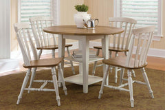 Dover Driftwood White With Sand Top 5 Piece Round Drop Leaf Leg Table Set With Slat Back Chairs