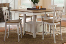 Dover Driftwood White With Sand Top 5 Piece Gathering Leg Table Set With X Back Chairs
