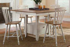 Dover Driftwood White With Sand Top 5 Piece Gathering Leg Table Set With Slat Back Chairs