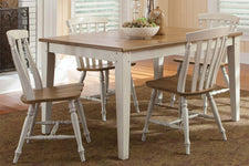 Dover Driftwood White With Sand Top 5 Piece Rectangular Leg Table Set With Slat Back Chairs