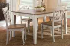 Dover Driftwood White With Sand Top 5 Piece Rectangular Leg Table Set With X Back Chairs