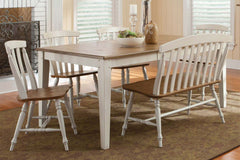 Dover Driftwood White With Sand Top 6 Piece Rectangular Leg Table Set With Slat Back Chairs And Bench