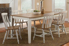 Dover Driftwood White With Sand Top 7 Piece Rectangular Leg Table Set With Slat Back Chairs