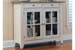 Dover Driftwood White With Sand Top Glass Door Storage Dining Buffet