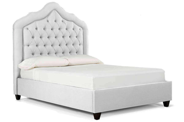 Upholstered Bed Draper Tufted Fabric Platform Bed