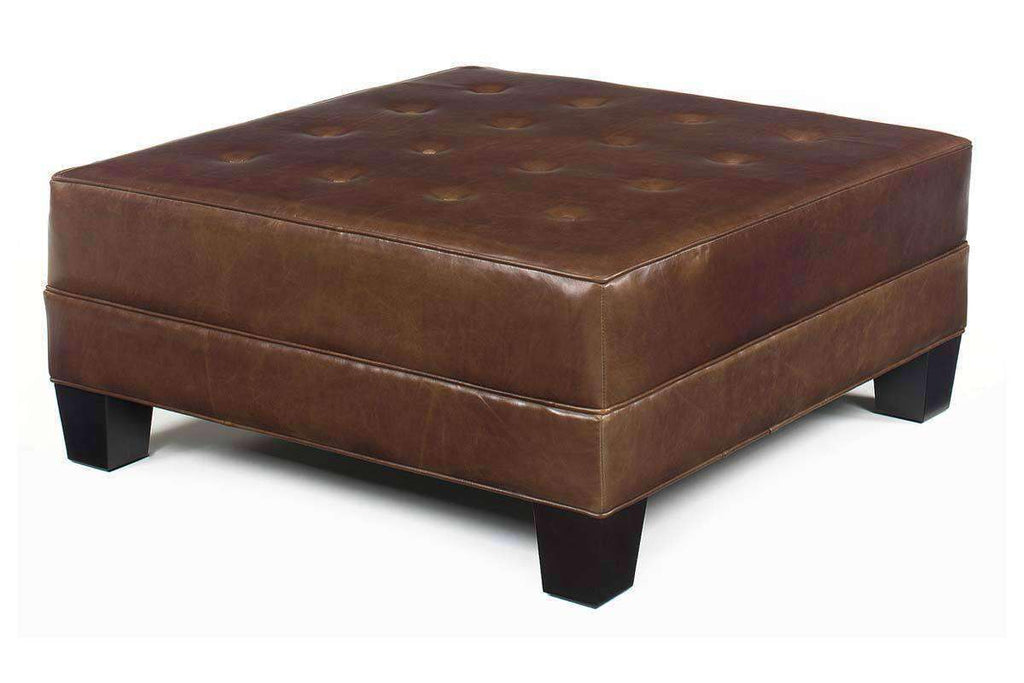 Drew Large Square Leather Ottoman Coffee Table