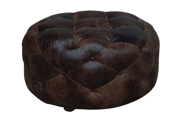 "Earle ""Quick Ship"" Medium Size Leather Tufted Round Ottoman"