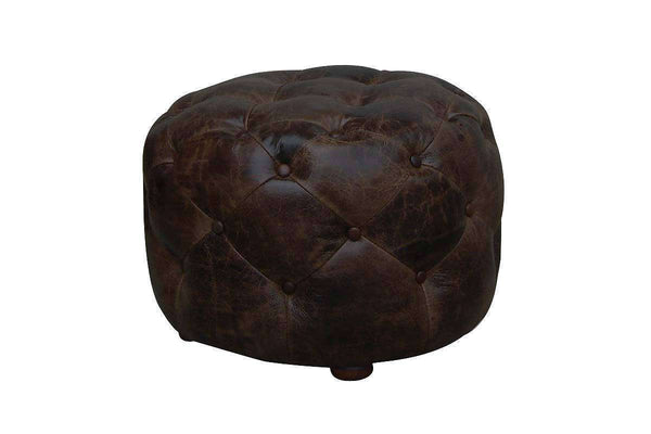 "Earle ""Quick Ship"" Small Round Leather Tufted Ottoman"