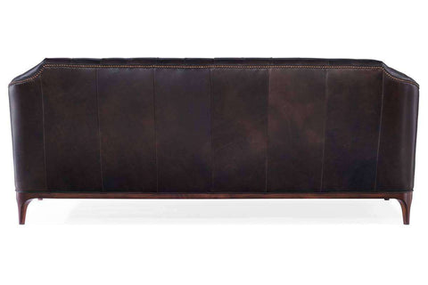 "Easton 85 Inch ""Quick Ship"" Tufted Leather Sofa With Exposed Wood Rail"