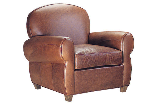 Edison Leather Art Deco Rounded Tight Back Club Chair
