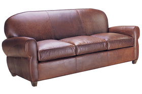 Edison 83 Inch Antique Art Deco Style Leather Queen Sleeper Sofa