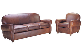 Edison 3 Piece Art Deco Leather Queen Sleeper Chair And Ottoman Set