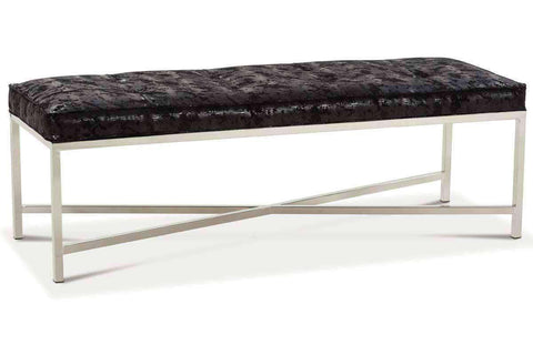 Ellery Fabric Top Bench Ottoman With Modern Chrome Metal Base