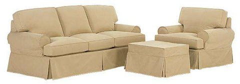 "Emma ""Ready To Ship"" Slipcovered Sofa, Chair and Ottoman Set (Photo For Style Only)"
