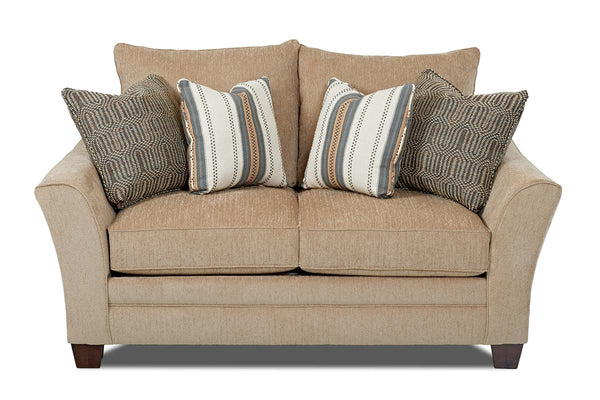 "Eugene ""Custom Value"" Curved Track Arm Transitional Fabric Upholstered Loveseat"