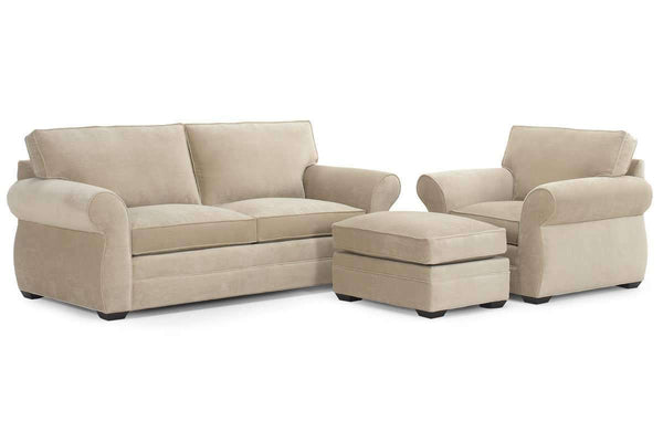 Brooke 3 Piece Fabric Sofa And Chair Living Room Set