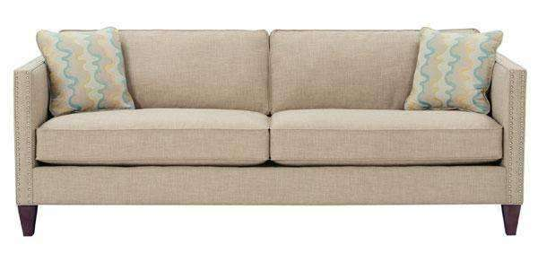 Connie Two Seat Upholstered Queen Sleeper Sofa With Nail Trim Track Arms
