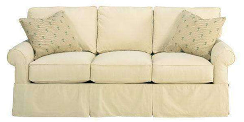 Fabric Furniture Emily Fabric Upholstered Faux Slipcover Queen Sleeper Sofa