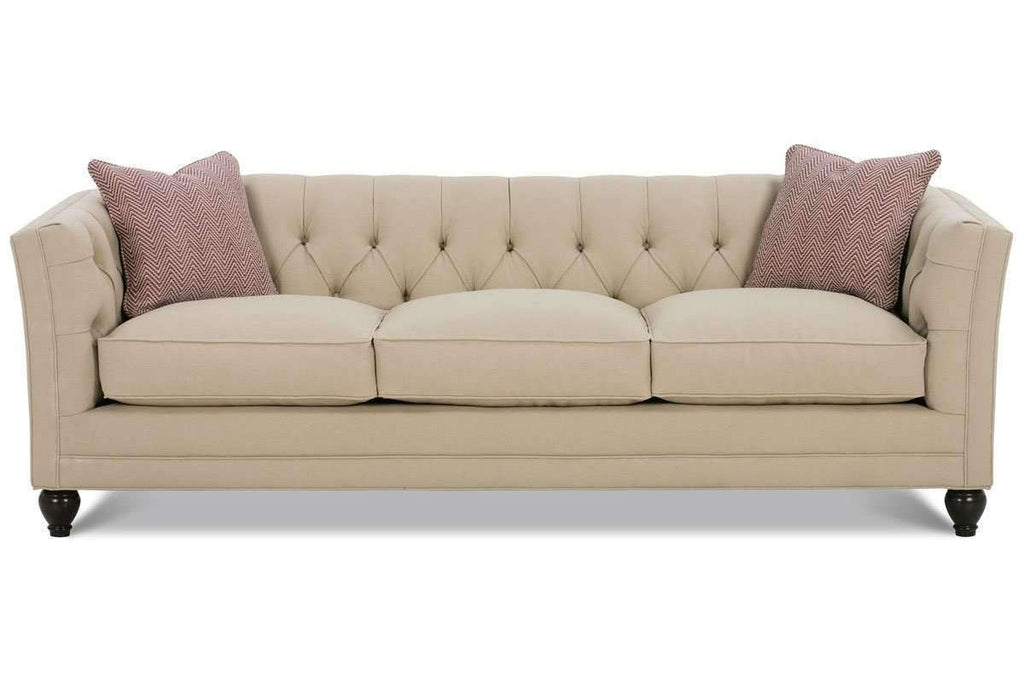 ... Fabric Furniture Isadore Fabric Upholstered Button Tufted Back Apartment Size Sofa (Two Cushions) ...
