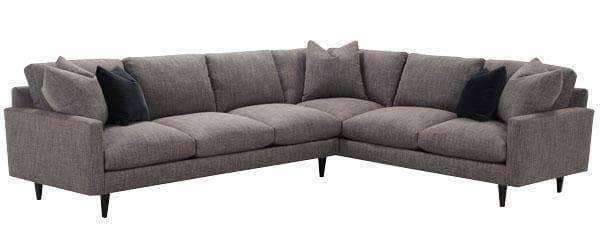 Fabric Sectional Sofa Deidre 2 Piece Fabric Pillow Back Mid Century Sectional Sofa (As Configured)