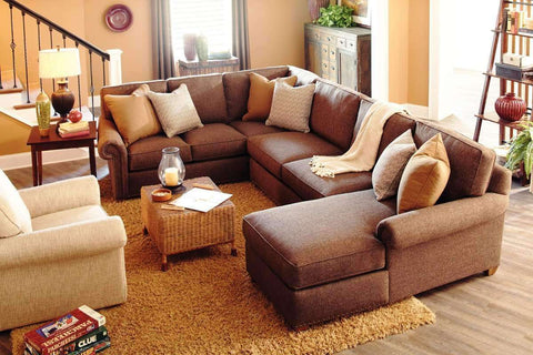 Fabric Sectional Sofa Ellie 3 Piece Oversized Deep Seated Fabric Chaise Sectional Sofa (As Configured)