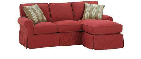 Fabric Sectional Sofa Emily Small Skirted Couch With Reversible Chaise