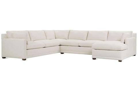 Fabric Sectional Sofa Faith 3 Piece Oversized Deep Seated Fabric Chaise Sectional Sofa (As Configured)