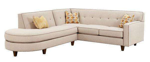 Fabric Sectional Sofa Justine Two Piece Button Back Sectional With Chaise Bumper (Version 2 As Configured)