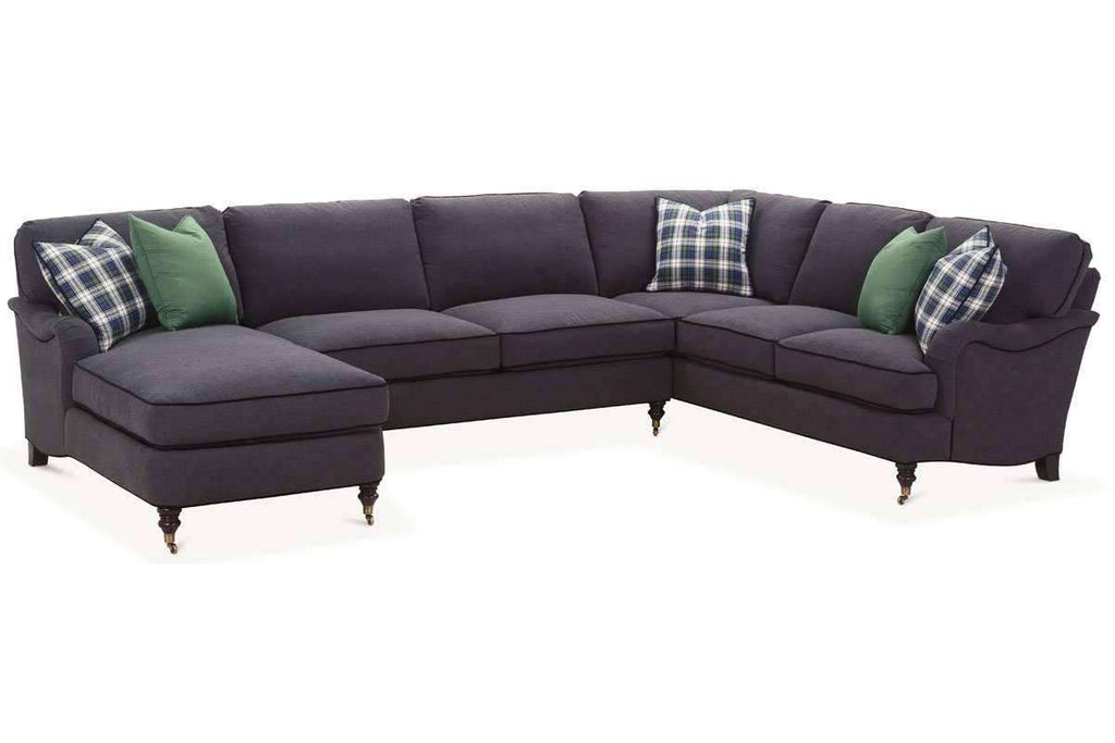 Kristen Fabric Pillow Back English Arm Sectional Sofa With Chaise (As ...