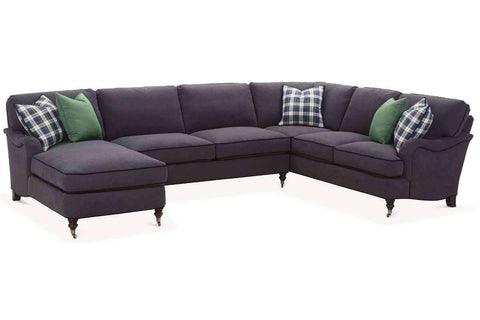Fabric Sectional Sofa Kristen Fabric Pillow Back English Arm Sectional Sofa With Chaise (As Configured)
