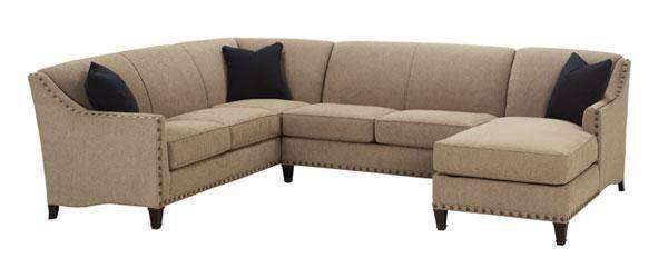 Fabric Sectional Sofa Mariana 3 Piece Fabric Tight Back Sectional With Large Nail Trim (As Configured)