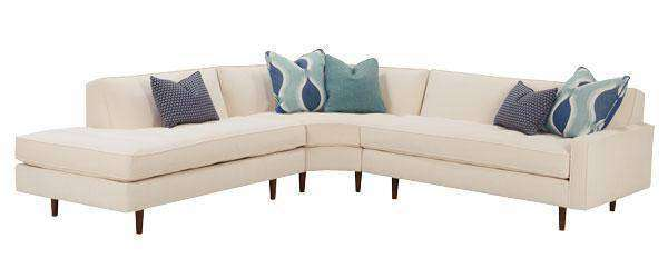 Zoey Fabric Tight Back Mid Century Sectional Sofa With Bumper Chaise