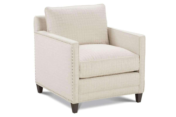 Clementine Designer Style Track Arm Fabric Accent Chair W Nailhead Trim