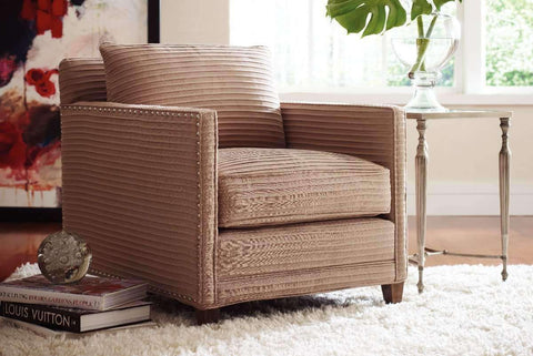 "Fabric Upholstered Accent Chairs And Chaise Clementine ""Designer Style"" Track Arm Fabric Accent Chair w/ Nailhead Trim"