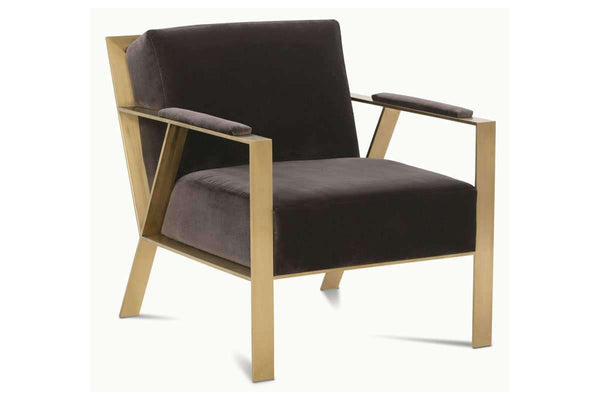 "Fabric Upholstered Accent Chairs And Chaise Karina ""Designer Style"" Fabric Chair With Modern Brushed Gold Frame"
